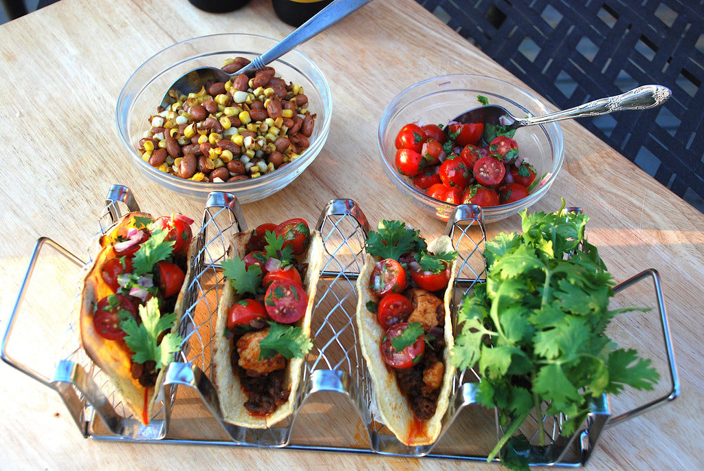 Chicken Chorizo Tacos with Pintos, Corn and Pico Salad