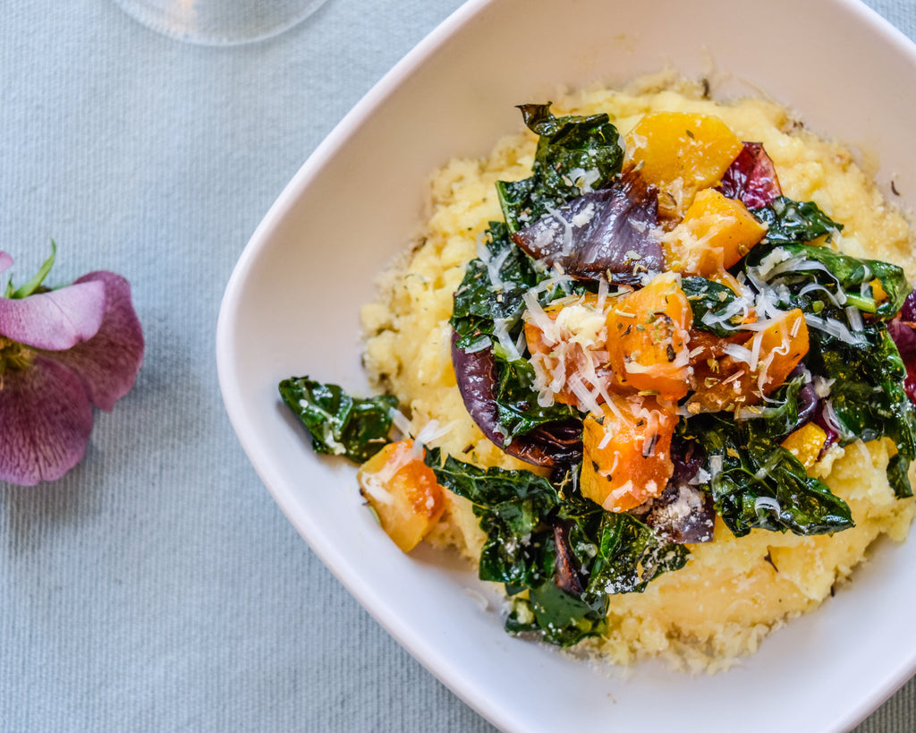 Roasted Veggies with Two Cheese Polenta