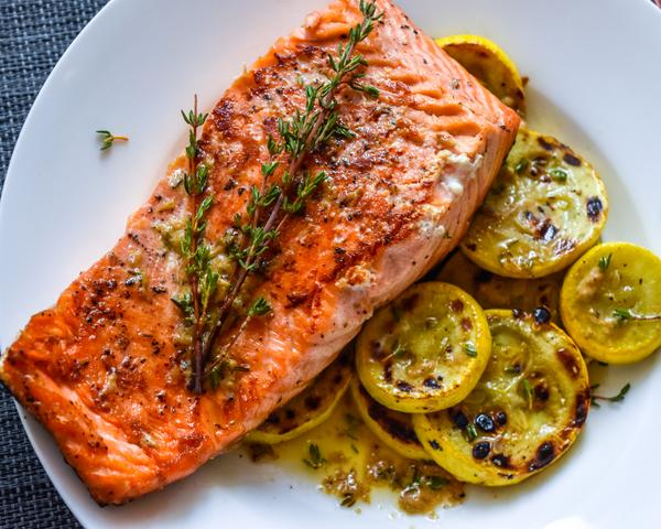 Pan-Seared Salmon and Summer Squash