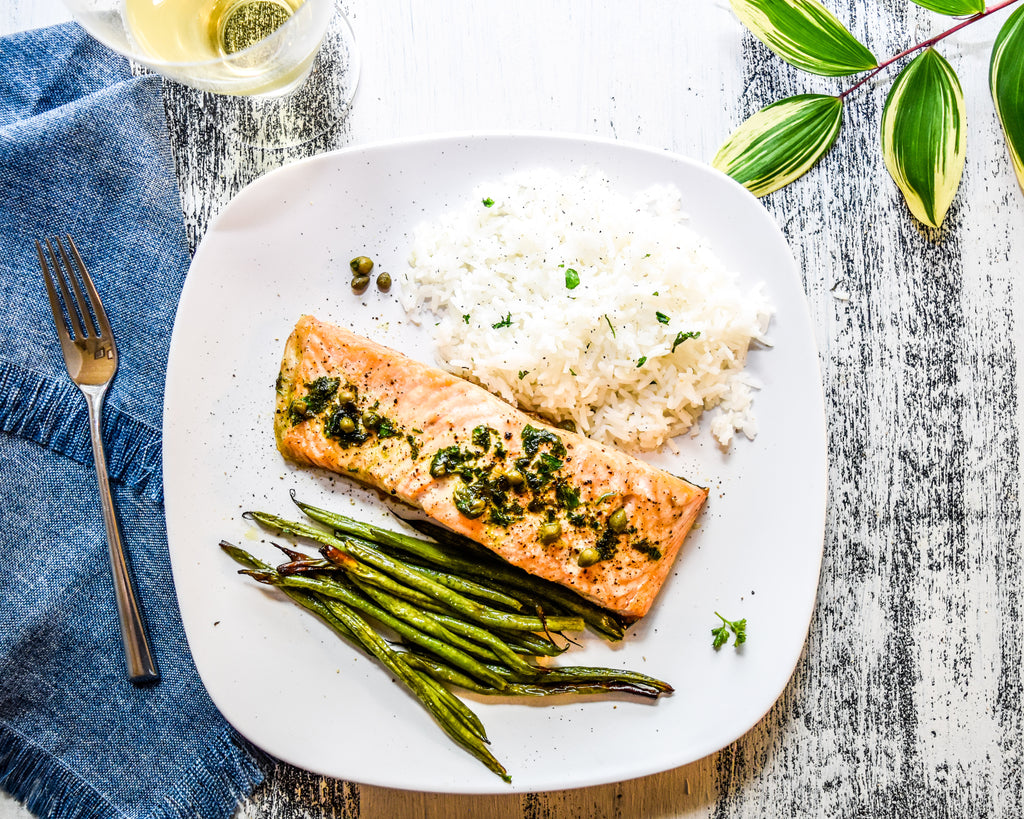 Sheet Pan Roasted Salmon with Capers and Green Beans