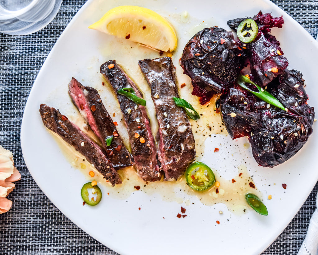 Skirt Steak with Tahini and Smashed Beets
