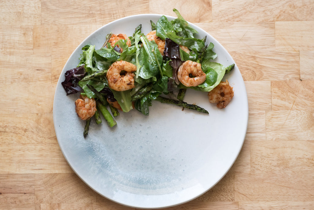 Shrimp with Asparagus Salad and Parmesan Dressing