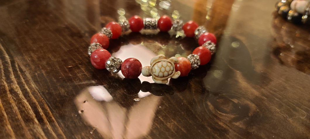 Hemitite And Diamond Turtle Bracelet