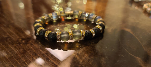 Mermaid Glass and Black Lava Bracelet