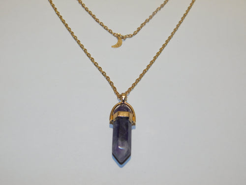 Amethyst and Crescent Moon Necklace