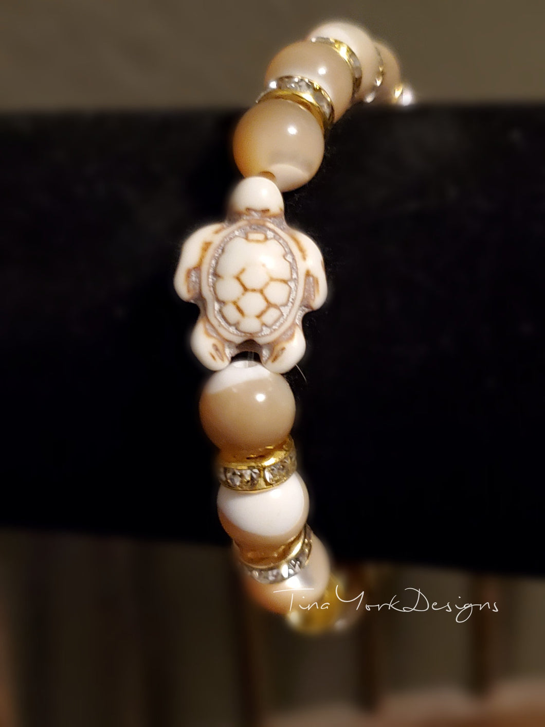 Mother of Pearl and Hematite Turtle Bracelet