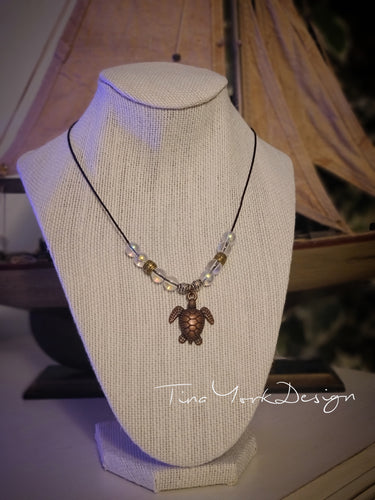 Galaxy Glass Bronze Turtle Necklace
