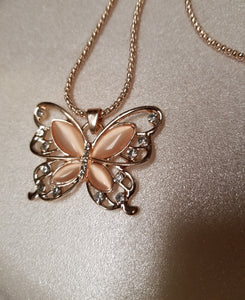 Rose Quartz and Diamond Butterfly Necklace