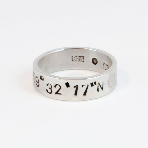 SILVER RING WITH COORDINATES