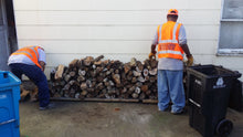 Load image into Gallery viewer, 1/4 cord almond firewood stacked