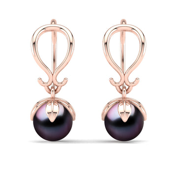 Tulip Pearl Earrings-18K Rose Gold-Tahitian-Aubergine
