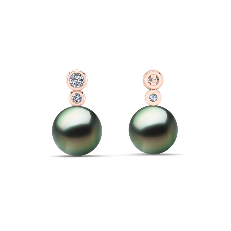 Double Diamond Pearl Drop Earrings-18K Rose Gold-Tahitian-Green