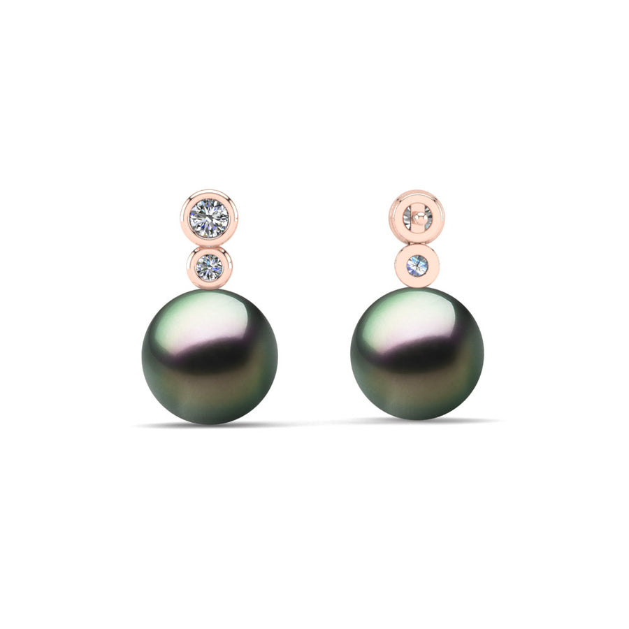 Double Diamond Pearl Drop Earrings