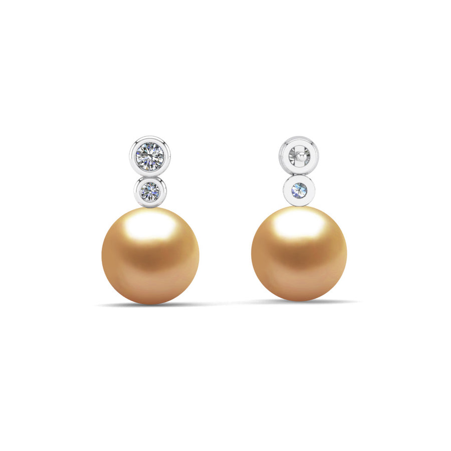 Double Diamond Pearl Drop Earrings-Platinum-South Sea Golden-Deep Golden