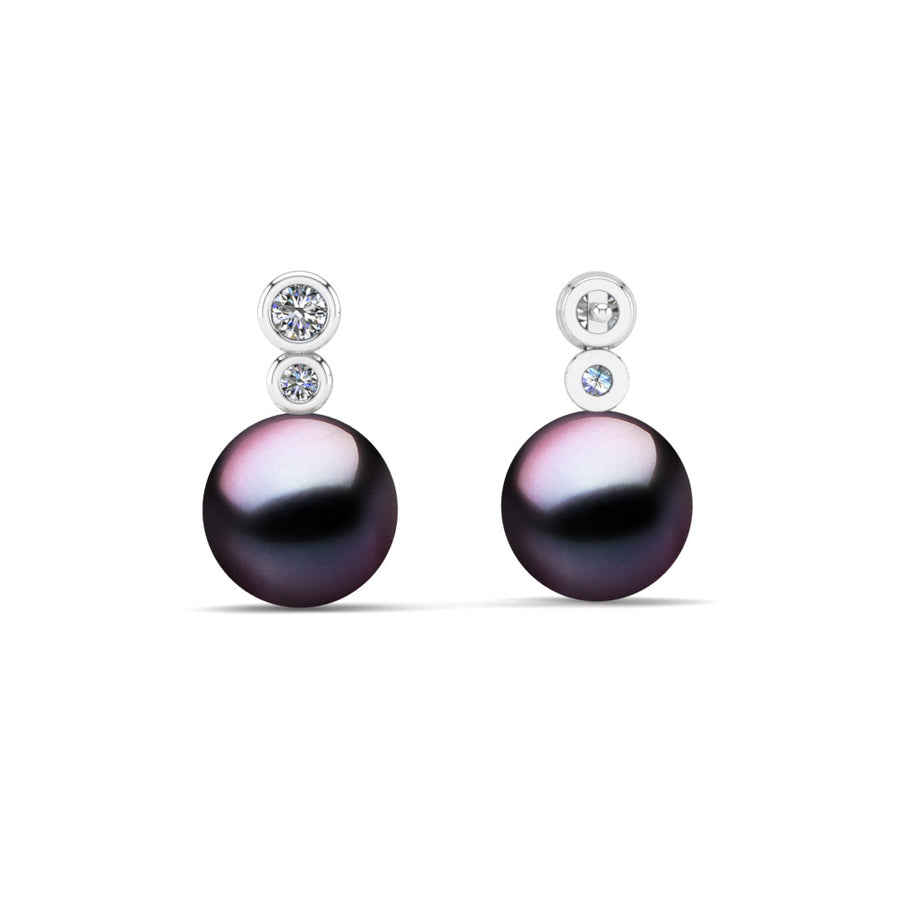 Double Diamond Pearl Drop Earrings-Platinum-Tahitian-Aubergine