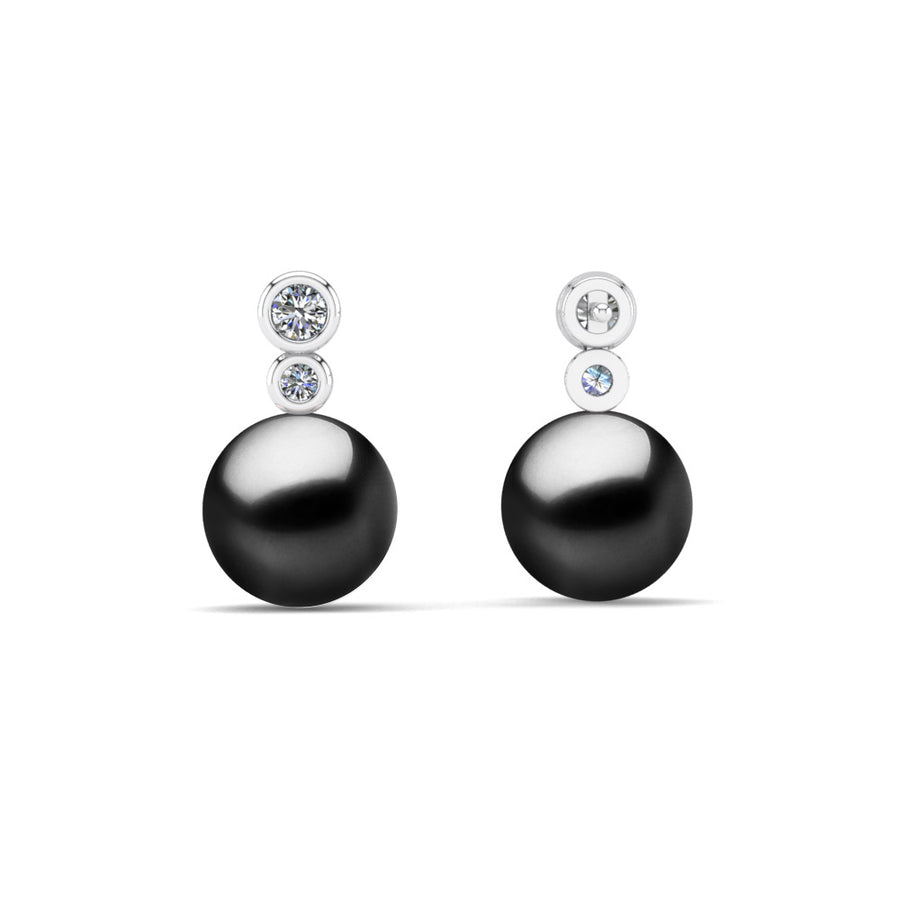 Double Diamond Pearl Drop Earrings-Platinum-Tahitian-Black