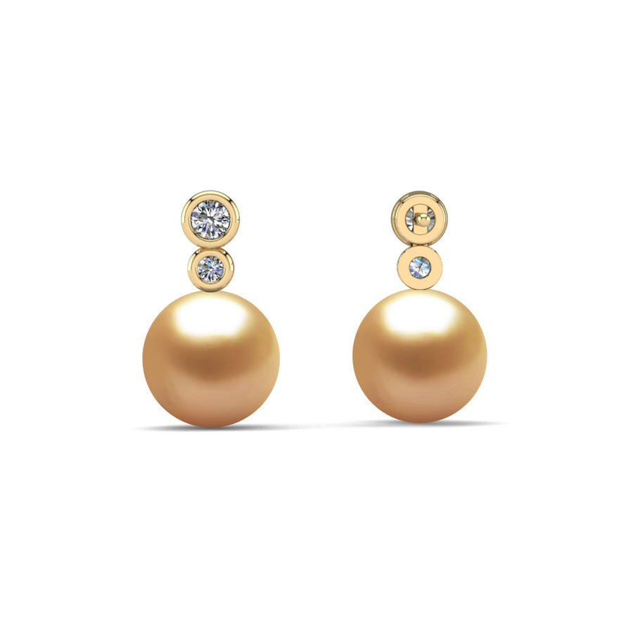 Double Diamond Pearl Drop Earrings-18K Yellow Gold-South Sea Golden-Deep Golden