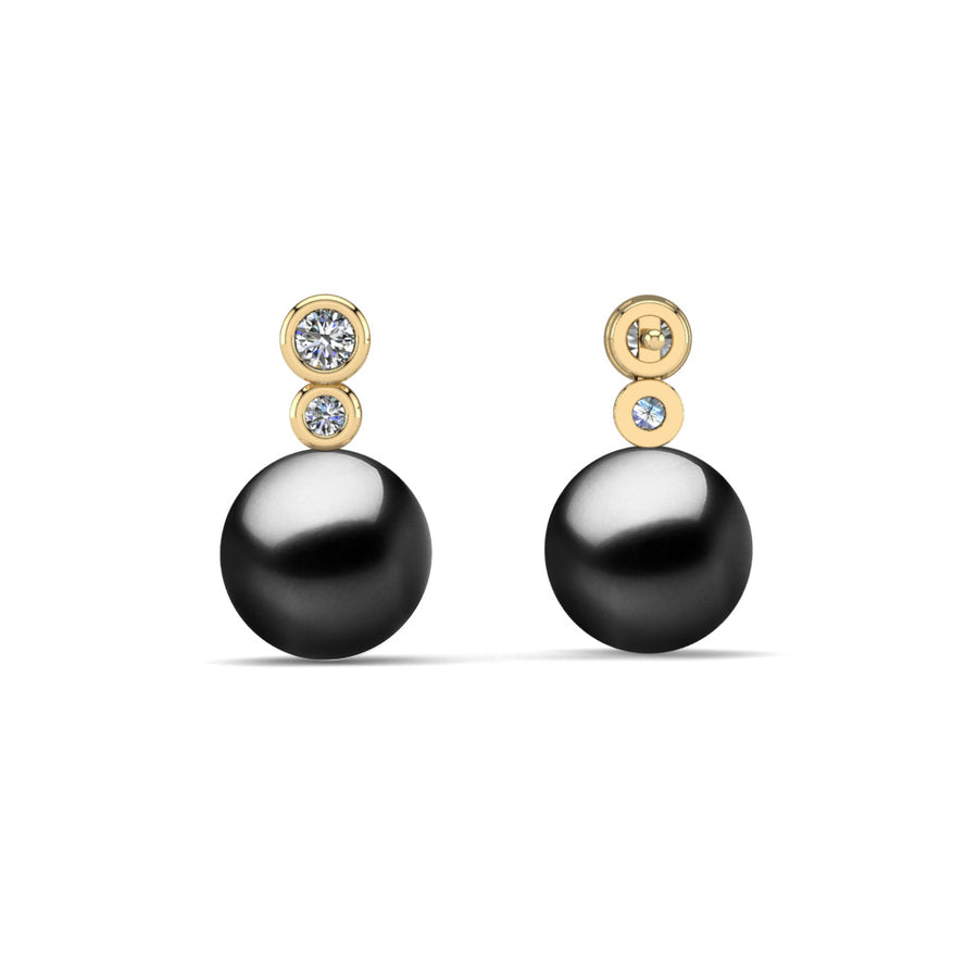 Double Diamond Pearl Drop Earrings-18K Yellow Gold-Tahitian-Black