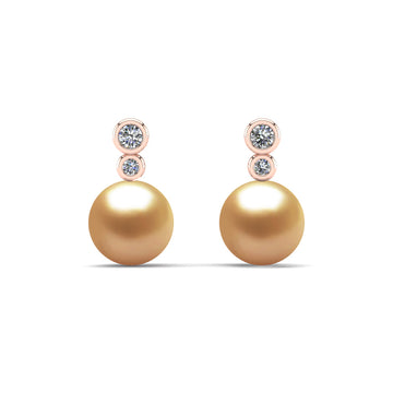 Double Diamond Pearl Drop Earrings-18K Rose Gold-South Sea Golden-Deep Golden