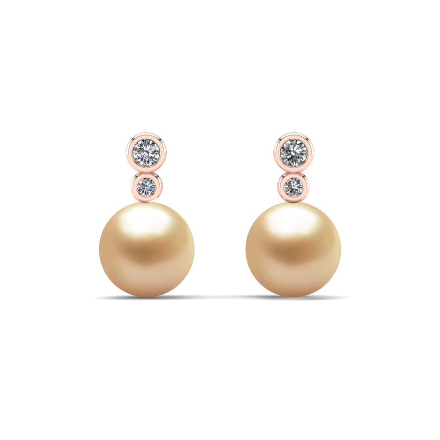 Double Diamond Pearl Drop Earrings-18K Rose Gold-South Sea Golden-Golden