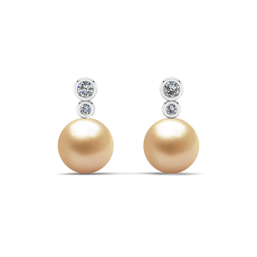 Double Diamond Pearl Drop Earrings-Platinum-South Sea Golden-Golden