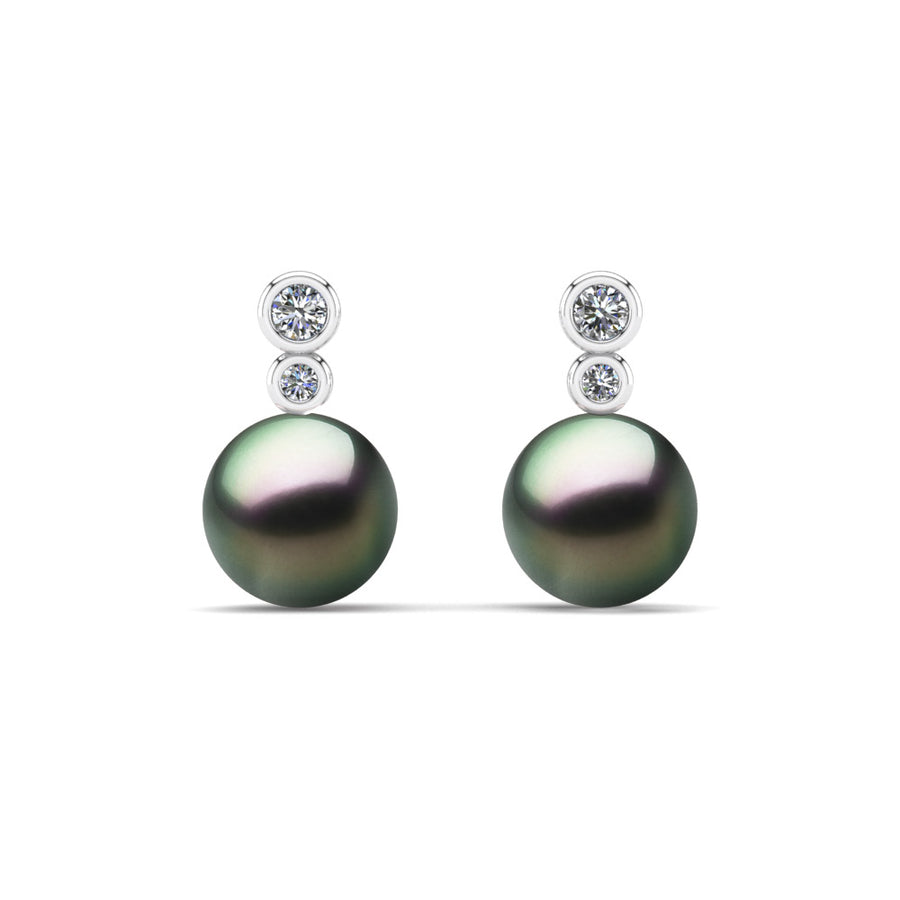 Double Diamond Pearl Drop Earrings-Platinum-Tahitian-Peacock