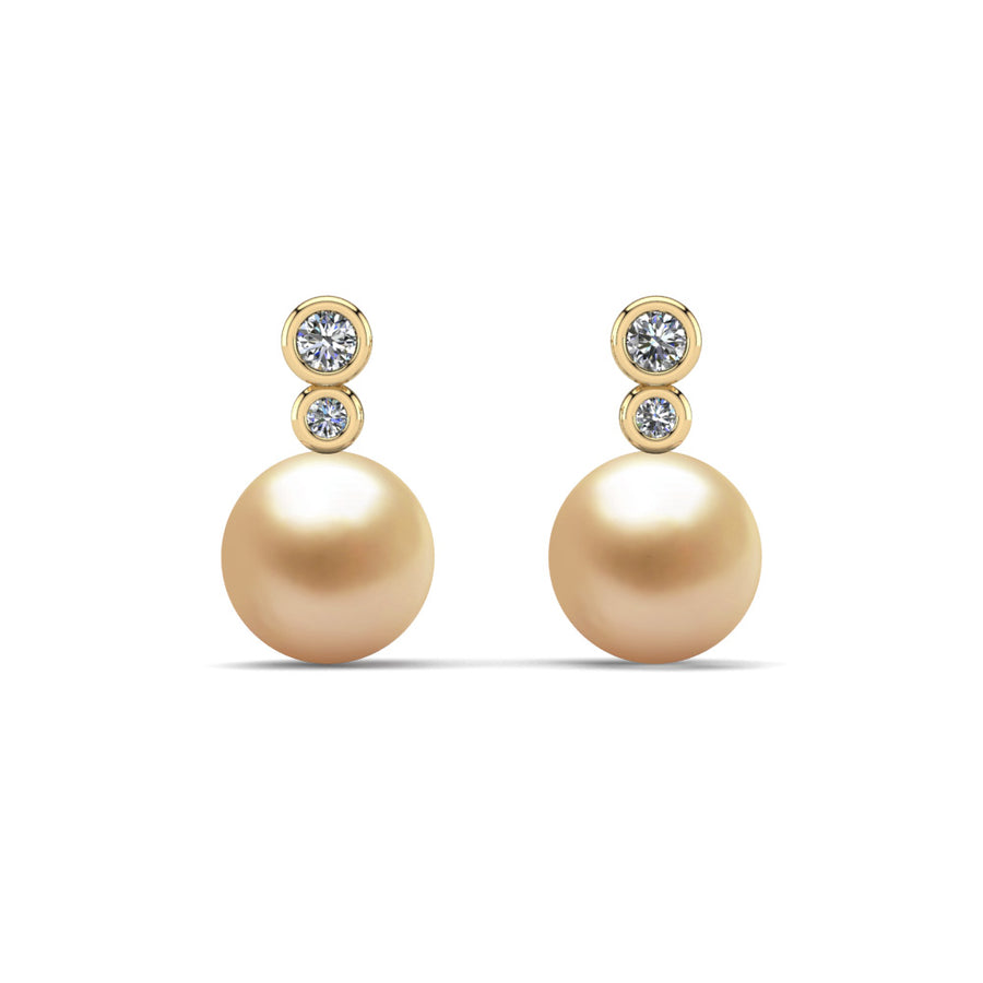 Double Diamond Pearl Drop Earrings-18K Yellow Gold-South Sea Golden-Golden