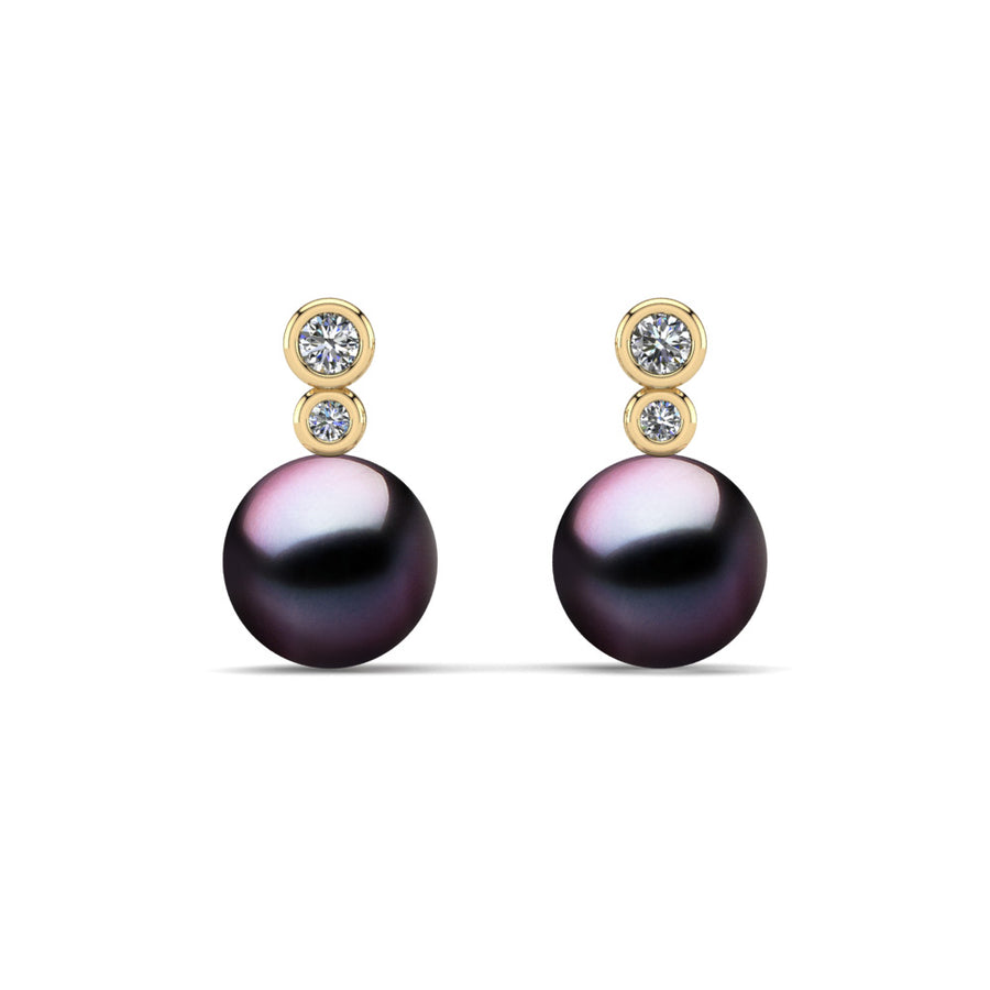 Double Diamond Pearl Drop Earrings-18K Yellow Gold-Tahitian-Aubergine