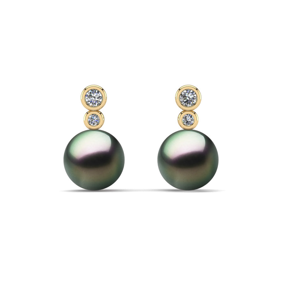 Double Diamond Pearl Drop Earrings-18K Yellow Gold-Tahitian-Peacock