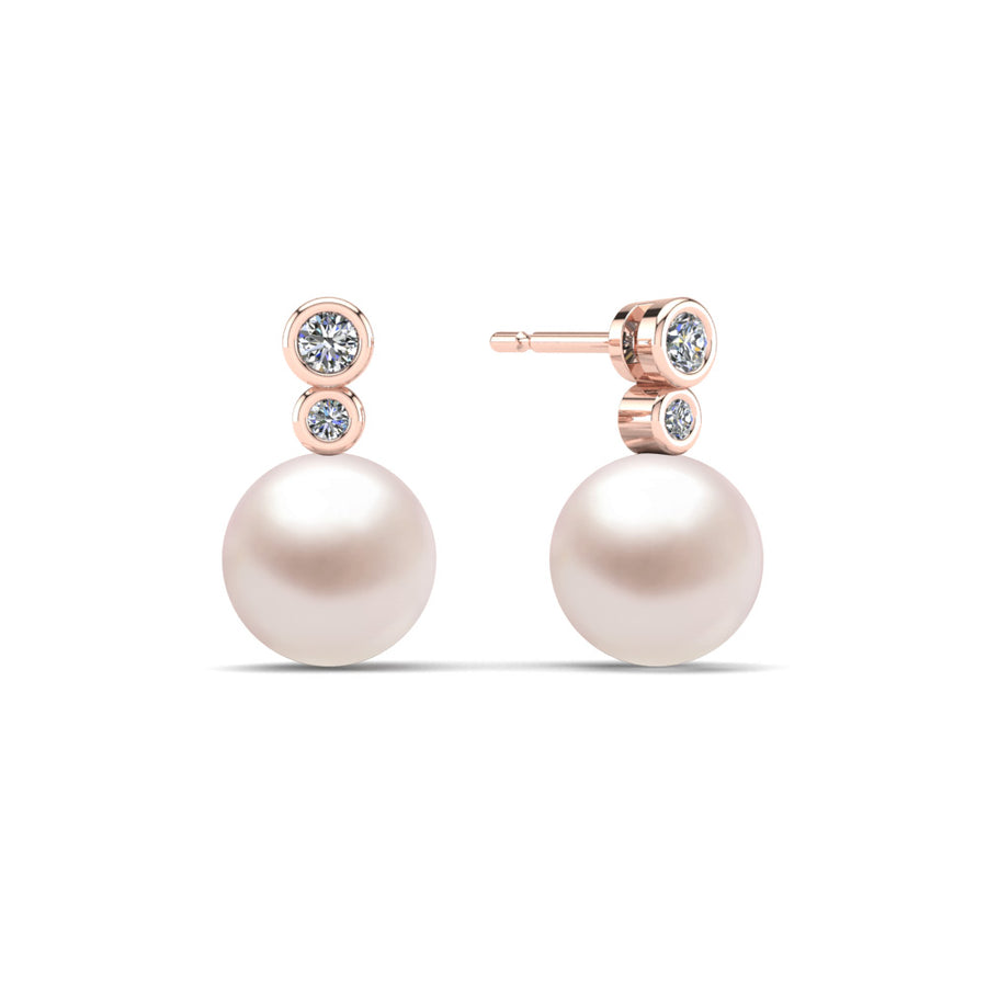 Double Diamond Pearl Drop Earrings-18K Rose Gold-South Sea-South Sea Rose