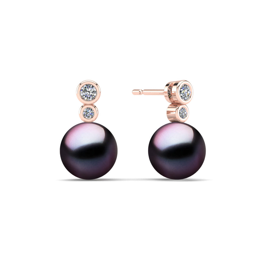 Double Diamond Pearl Drop Earrings-18K Rose Gold-Tahitian-Aubergine