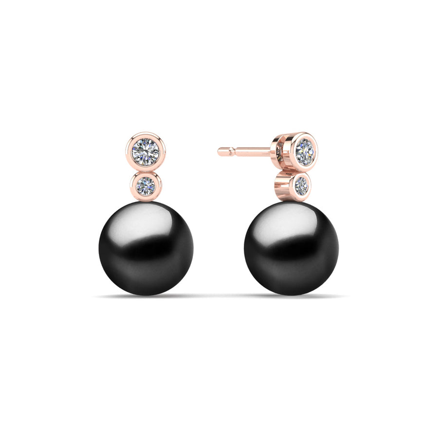 Double Diamond Pearl Drop Earrings-18K Rose Gold-Tahitian-Black