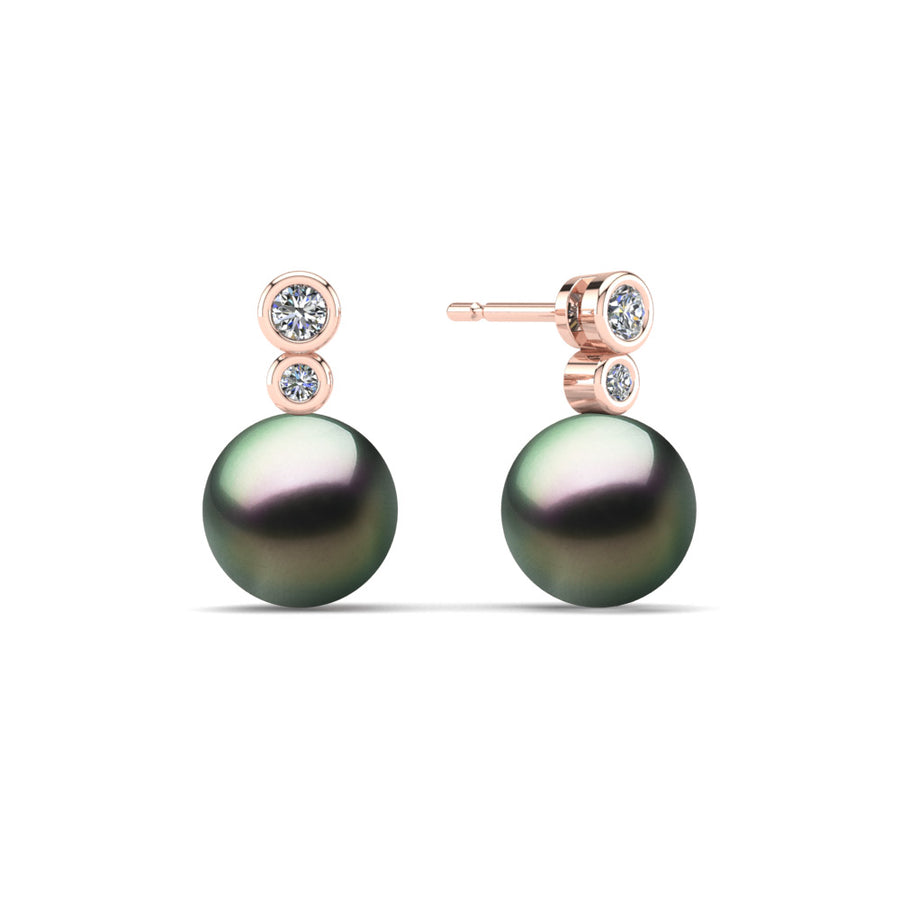 Double Diamond Pearl Drop Earrings-18K Rose Gold-Tahitian-Peacock