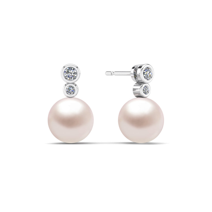 Double Diamond Pearl Drop Earrings-Platinum-South Sea-South Sea Rose