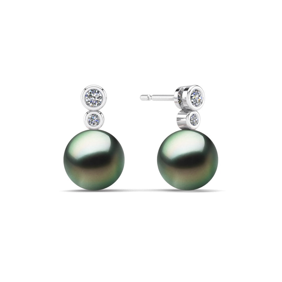 Double Diamond Pearl Drop Earrings-Platinum-Tahitian-Green