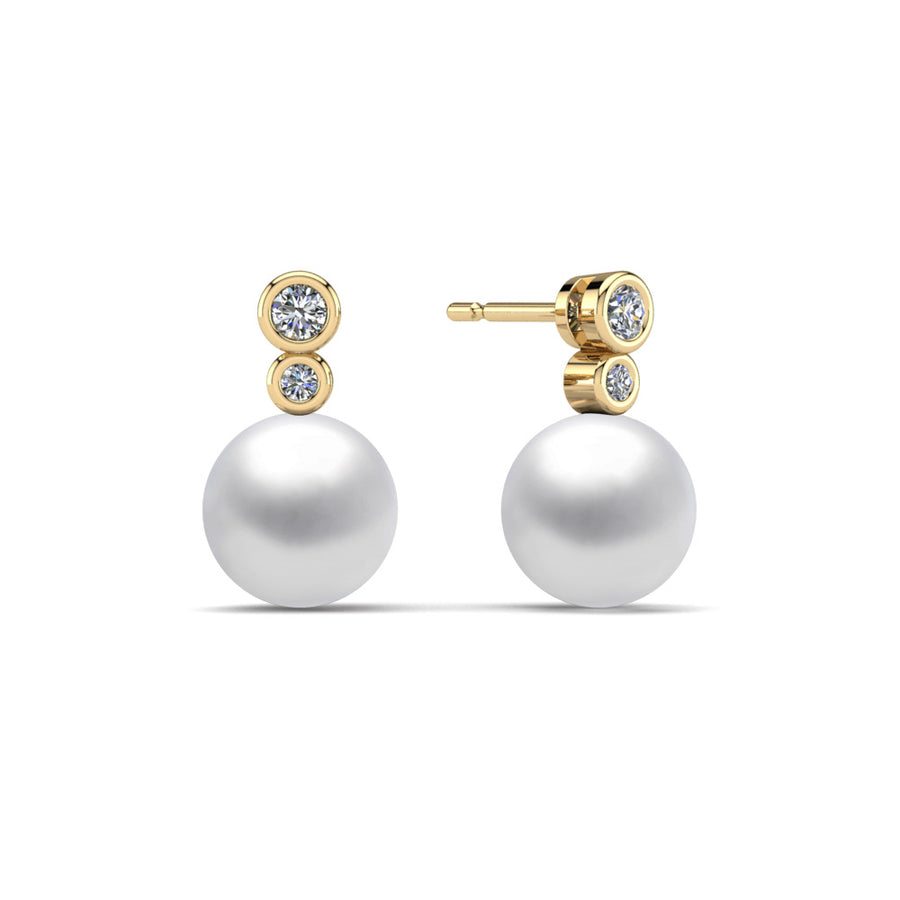 Double Diamond Pearl Drop Earrings-18K Yellow Gold-South Sea-South Sea White