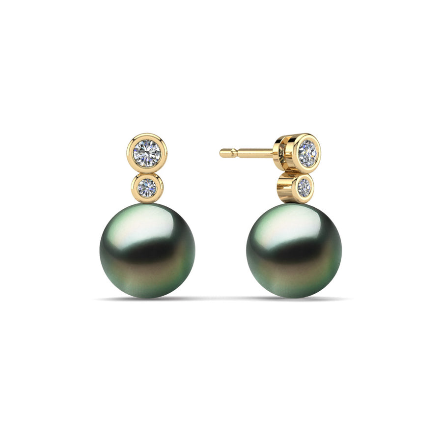 Double Diamond Pearl Drop Earrings-18K Yellow Gold-Tahitian-Green