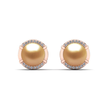 Seafarer Pearl Studs-18K Rose Gold-South Sea Golden-Deep Golden