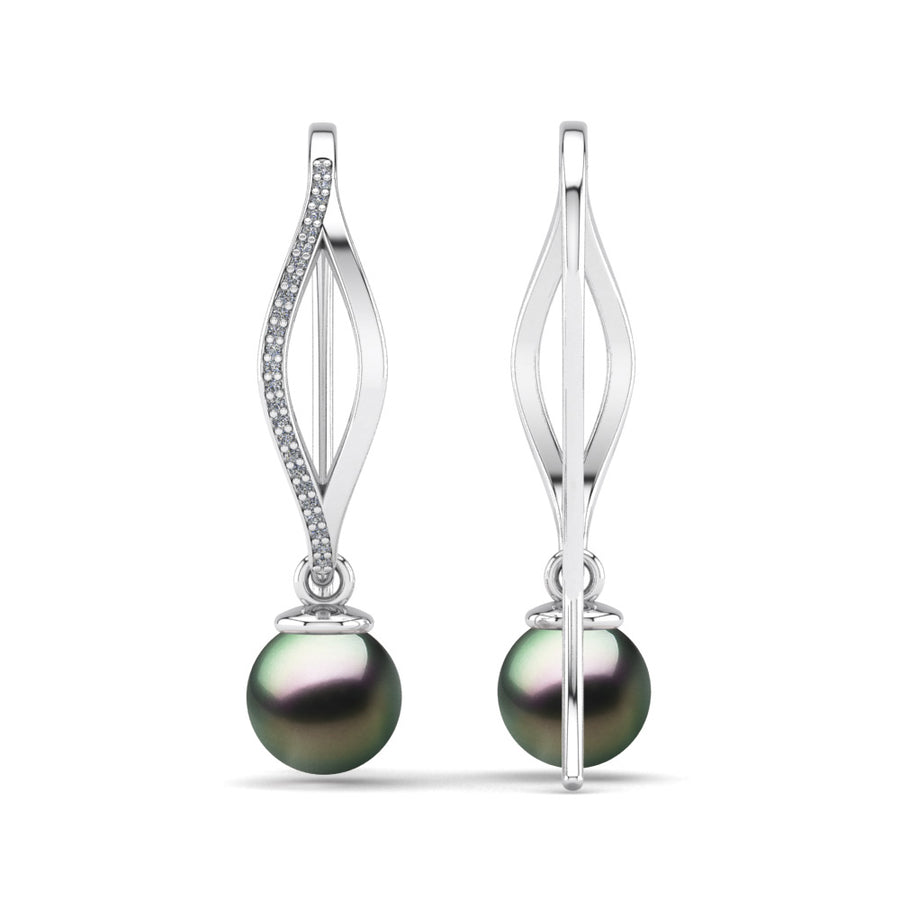 Diamond Blade Pearl Earrings-Platinum-Tahitian-Peacock