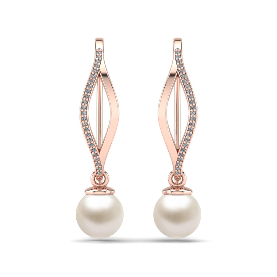 Diamond Blade Pearl Earrings-18K Rose Gold-Akoya-White Akoya
