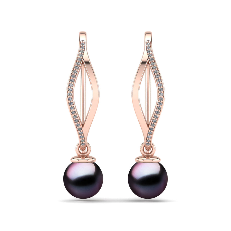 Diamond Blade Pearl Earrings-18K Rose Gold-Tahitian-Aubergine
