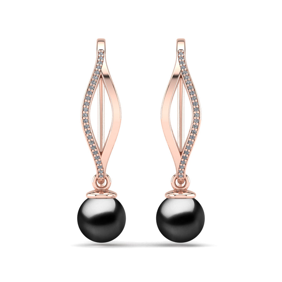 Diamond Blade Pearl Earrings-18K Rose Gold-Tahitian-Black