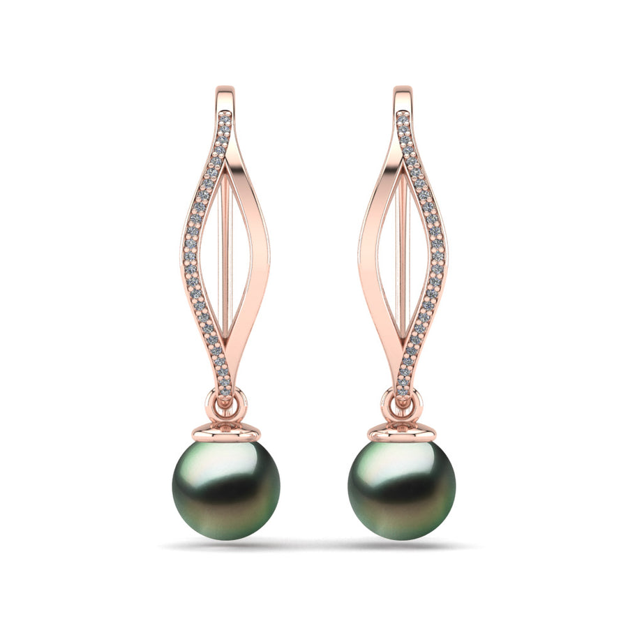 Diamond Blade Pearl Earrings-18K Rose Gold-Tahitian-Green