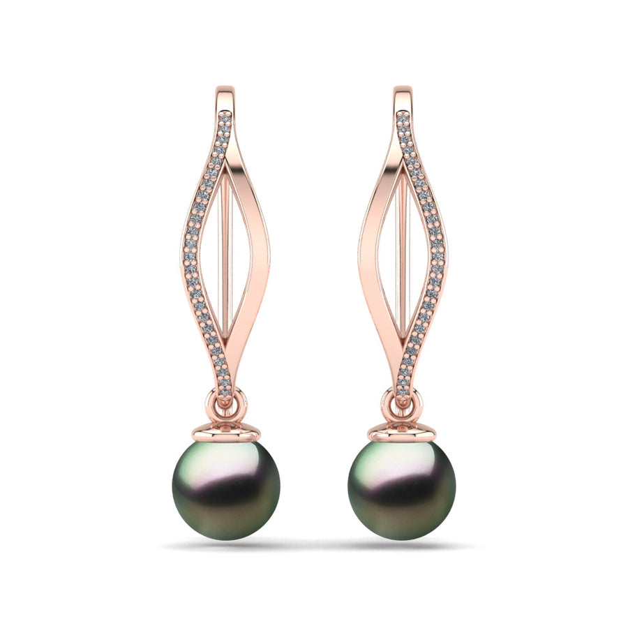 Diamond Blade Pearl Earrings-18K Rose Gold-Tahitian-Peacock