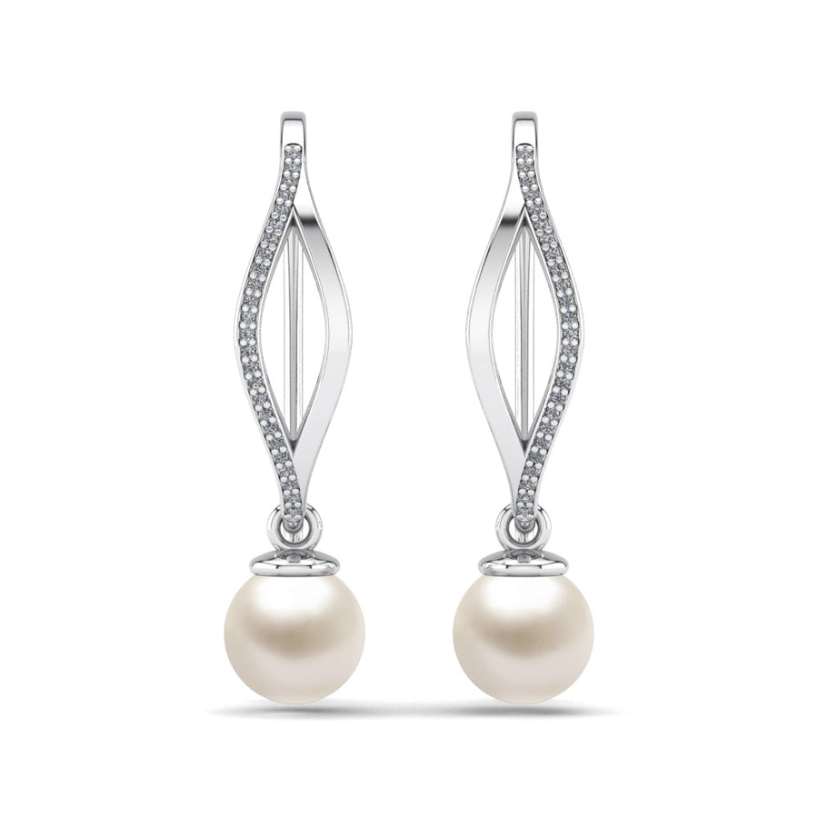 Diamond Blade Pearl Earrings-Platinum-Akoya-White Akoya