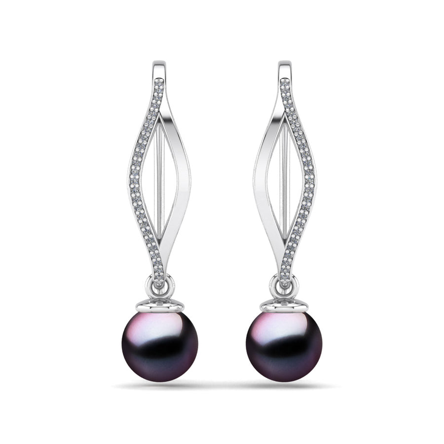 Diamond Blade Pearl Earrings-Platinum-Tahitian-Aubergine