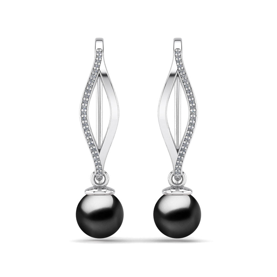 Diamond Blade Pearl Earrings-Platinum-Tahitian-Black