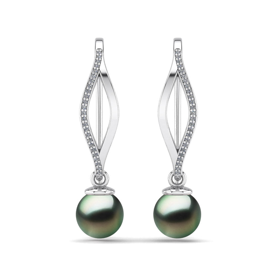 Diamond Blade Pearl Earrings-Platinum-Tahitian-Green