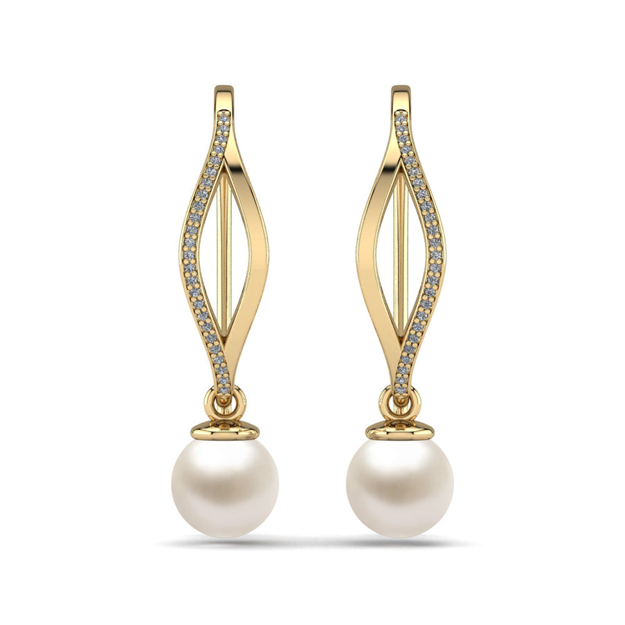Diamond Blade Pearl Earrings-18K Yellow Gold-Akoya-White Akoya