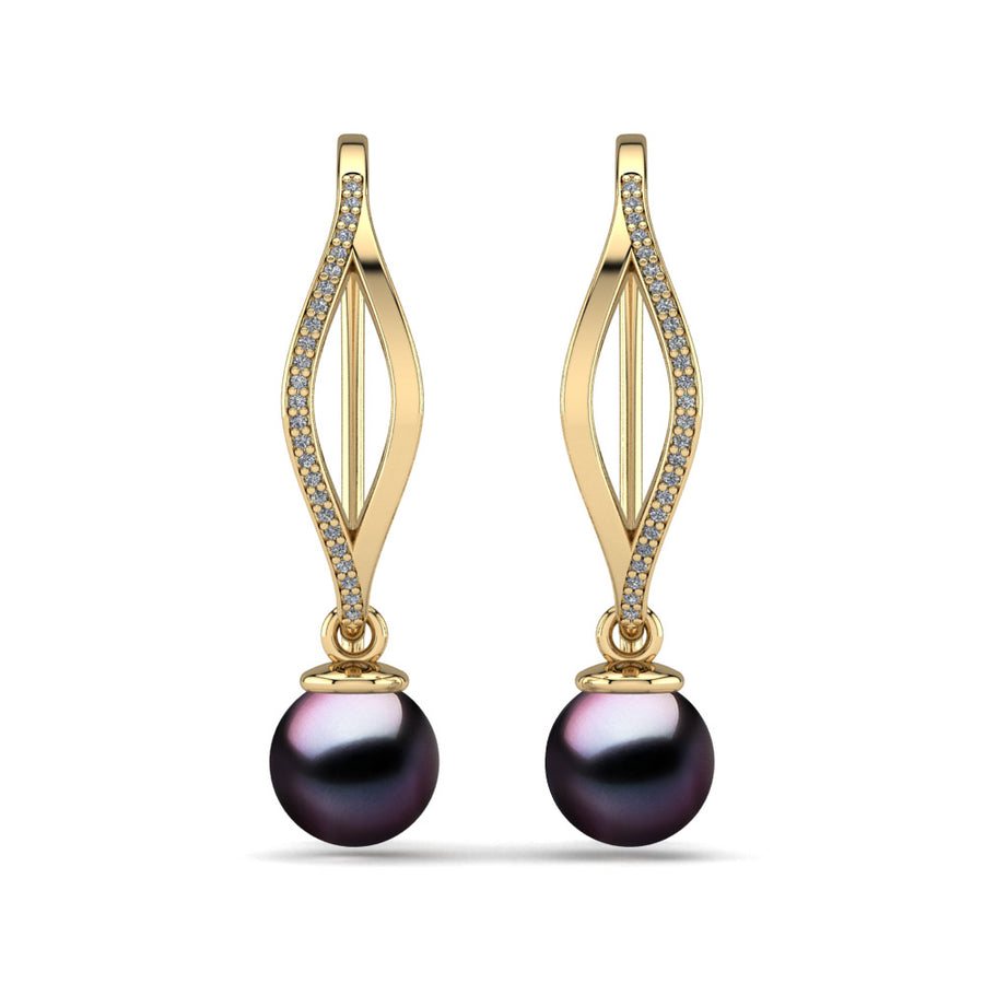 Diamond Blade Pearl Earrings-18K Yellow Gold-Tahitian-Aubergine